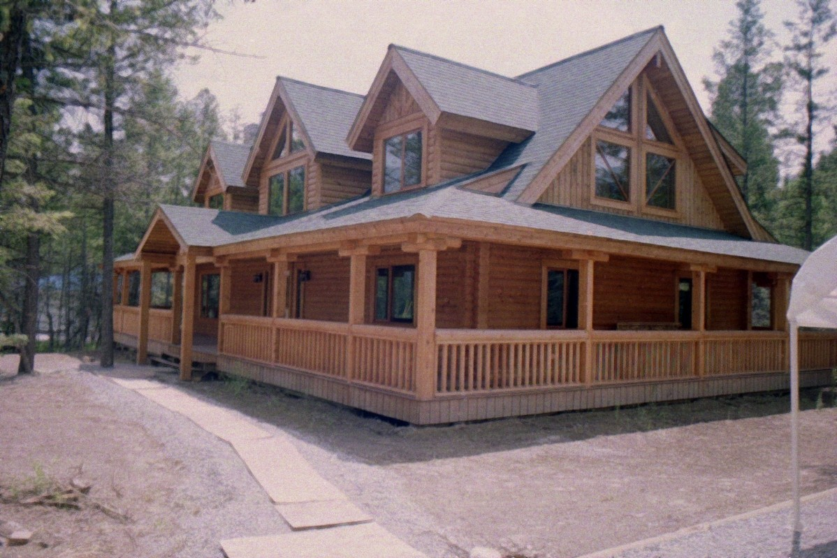 Covered porch with wrap-around roof line
